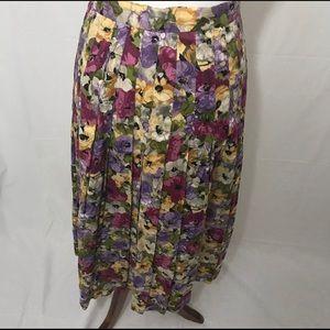 Vintage Brooks Brothers Pleated Floral Skirt